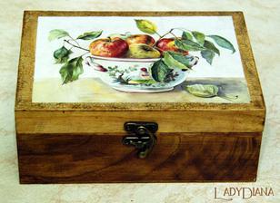 6-priečinková krabička na čaj; drevo Dub zlatý , dvojkrokový krakel obyčaj, patinol, soft decoupage papier