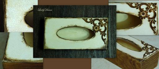 zlatý dub, akrylka slonia kosť, porcelánový krakel (zase mi vyšiel nahusto:() drevený ornament, patinol