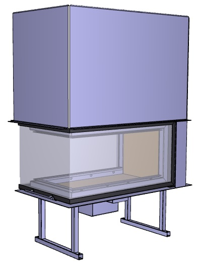 Trojstranný krb Deltako U80 - Obrázok č. 1