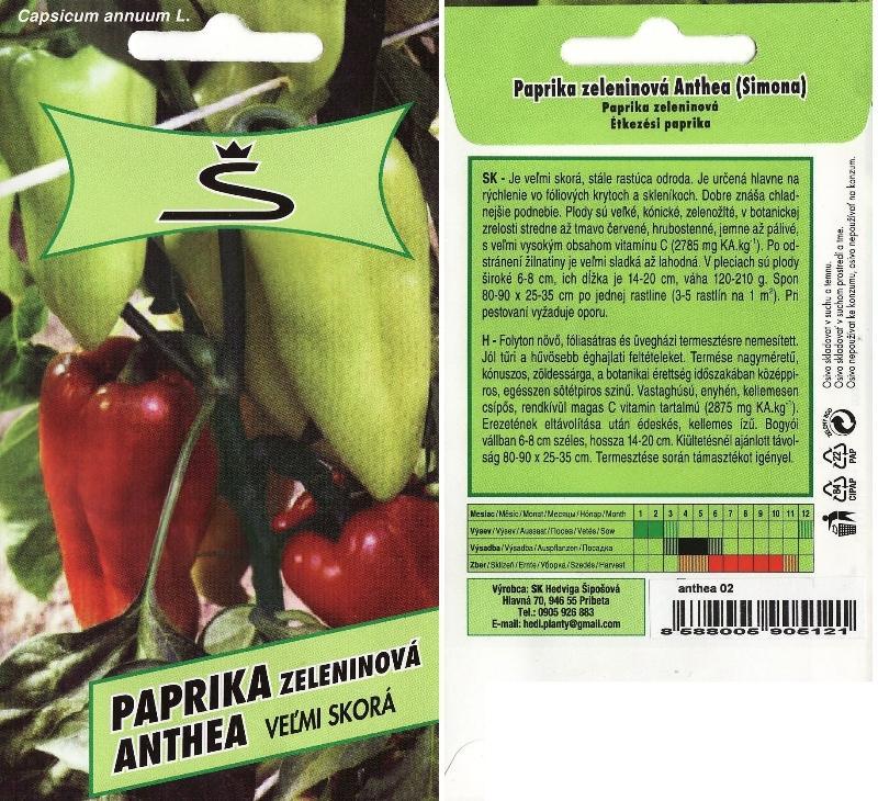 Paprika Anthea - semená - Obrázok č. 1