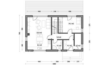 přízemí domečku Harmonie 1 - byl by fajn větší obývák s kk, ale zase ta místnost 14m2 je super! A úložný prostor/technická místnost nemá chybu!