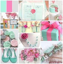 Barvy naší svatby :-) úchvatná mint a do toho trošku tmavě růžové...jásavé optimistické barvičky nás prostě vystihují :-)