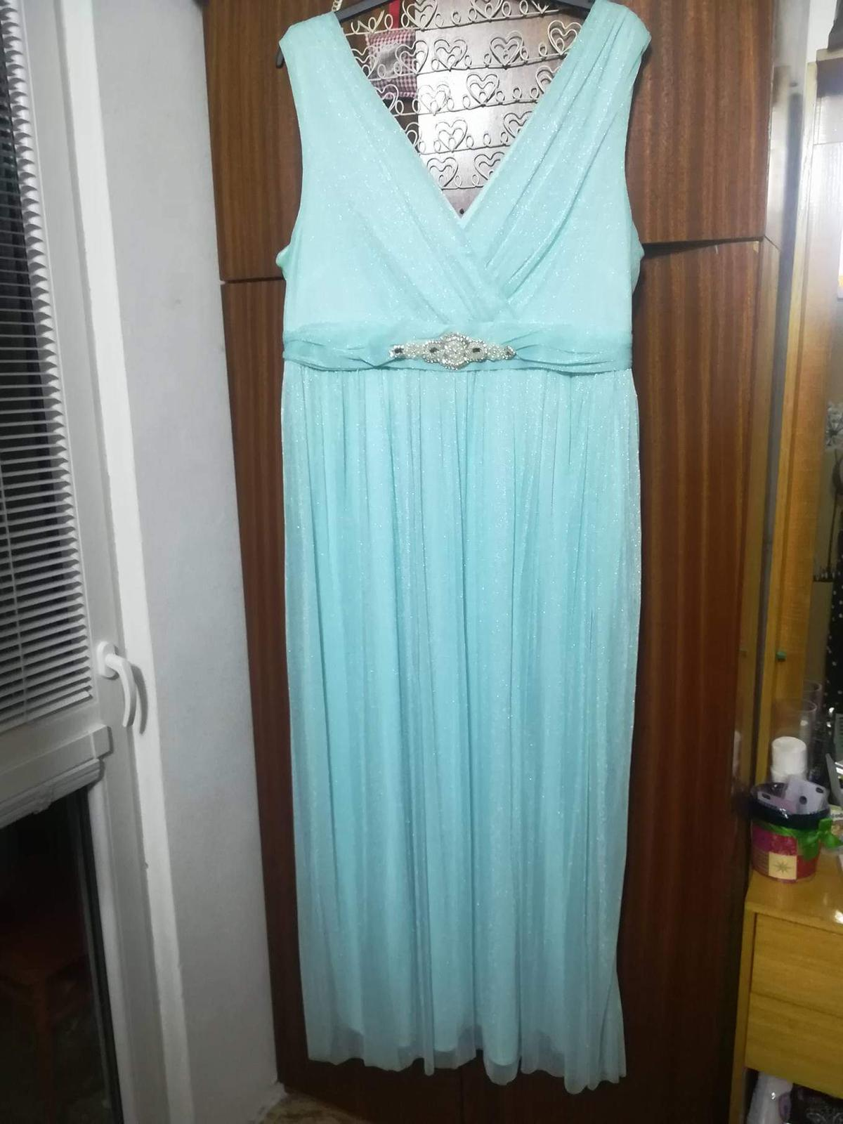 Tyrkysové šaty s čipkovaným bolerkom - Obrázok č. 1