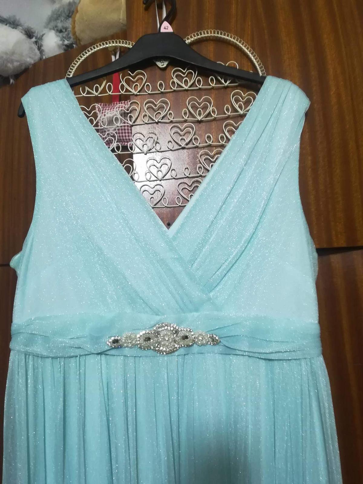 Tyrkysové šaty s čipkovaným bolerkom - Obrázok č. 2