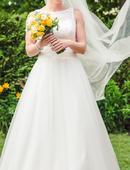 Svatební šaty vč. závoje a spodničky, 36