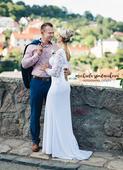 Ručne šité svadobné šaty s čipkou, 38