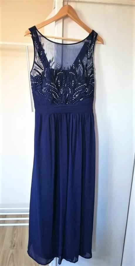 Tmavomodré dlhé šaty - Obrázok č. 1