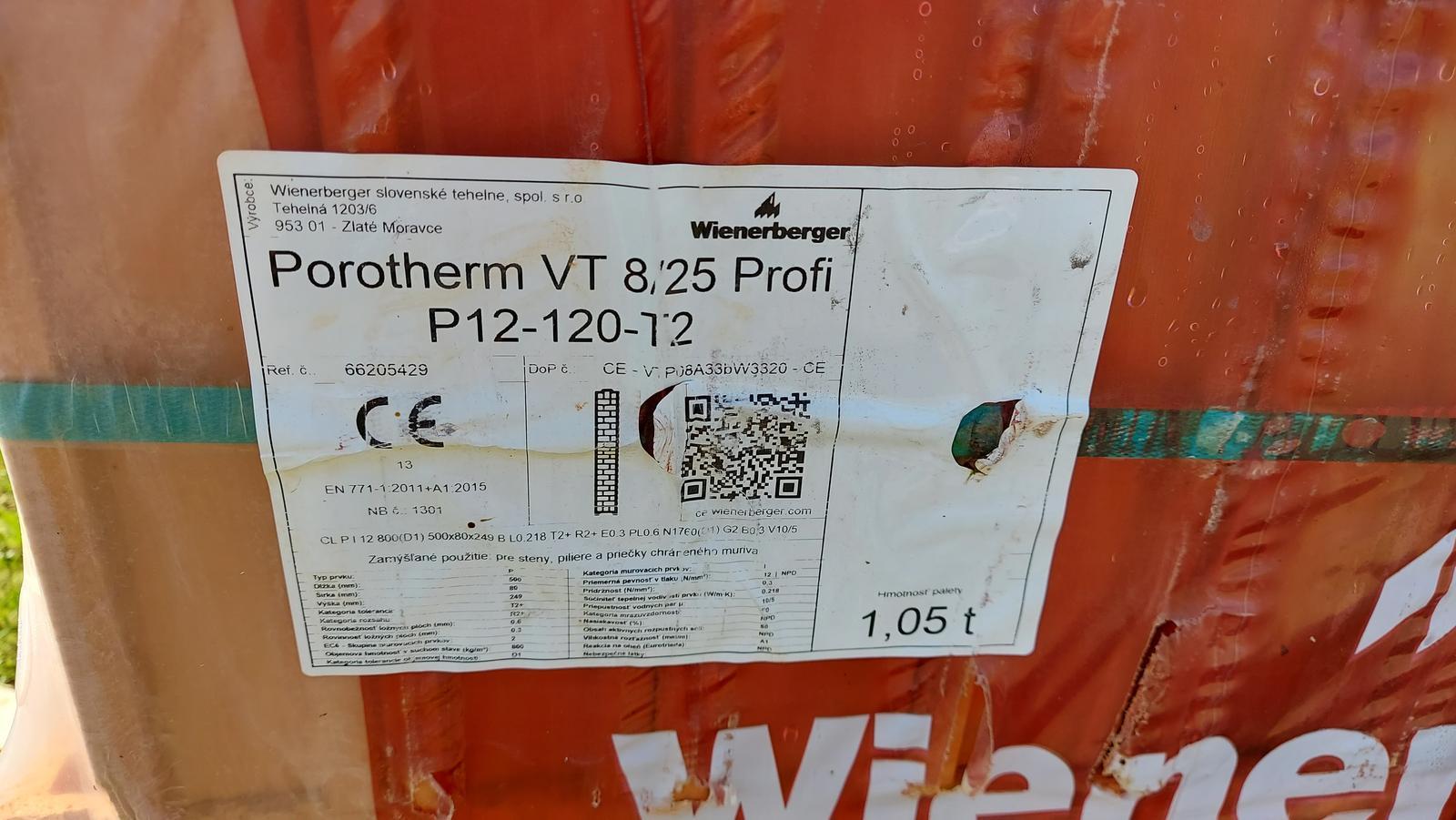 Prodám cihly Porotherm VT8/25 Profi - věncovky - Obrázek č. 1