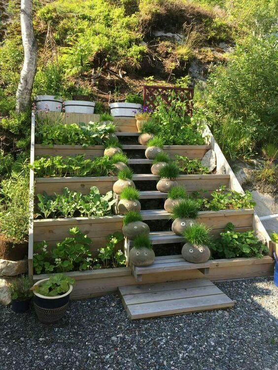 Nápady ven, zahrada, terasa, voda - Zelenina na schodech 😉