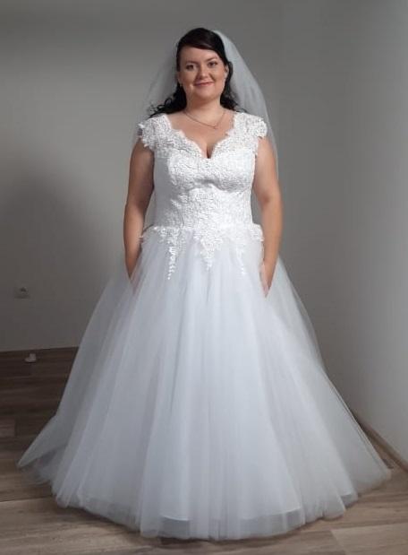 Svatební šaty pro baculky / těhotné - šněrování (vel.48,50,52,54) - Obrázek č. 1