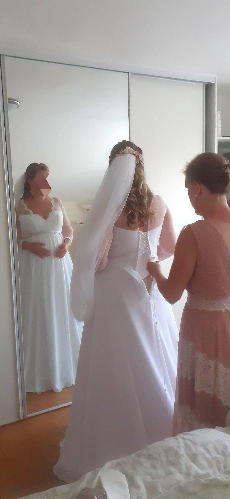 Svadobné šaty 42/pre tehotné - Obrázok č. 1