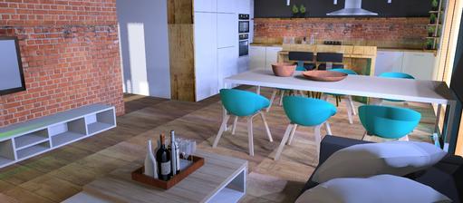 Návrh jedálne a obývačky