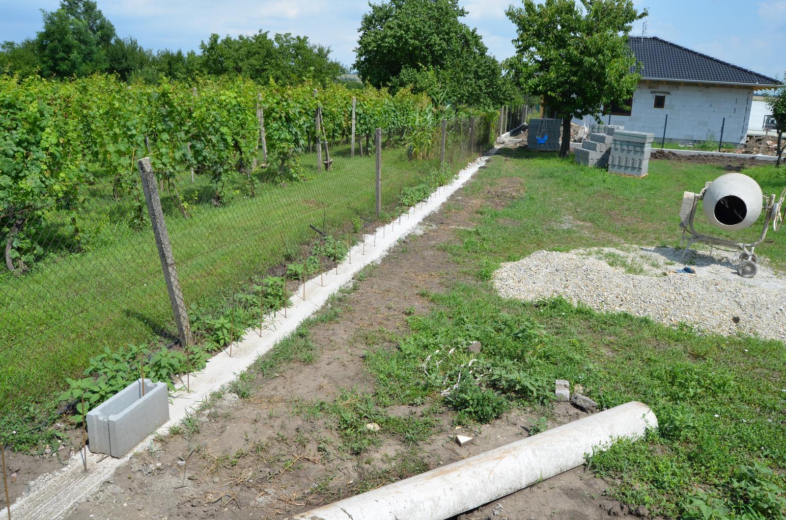 Okolie domu - Zabetónovali sme plot od susedov, vzadu, kde je čerešňa, bude raz pracovný domček s prístreškom pre autá. Za čerešňou pribudli nový susedia :-)