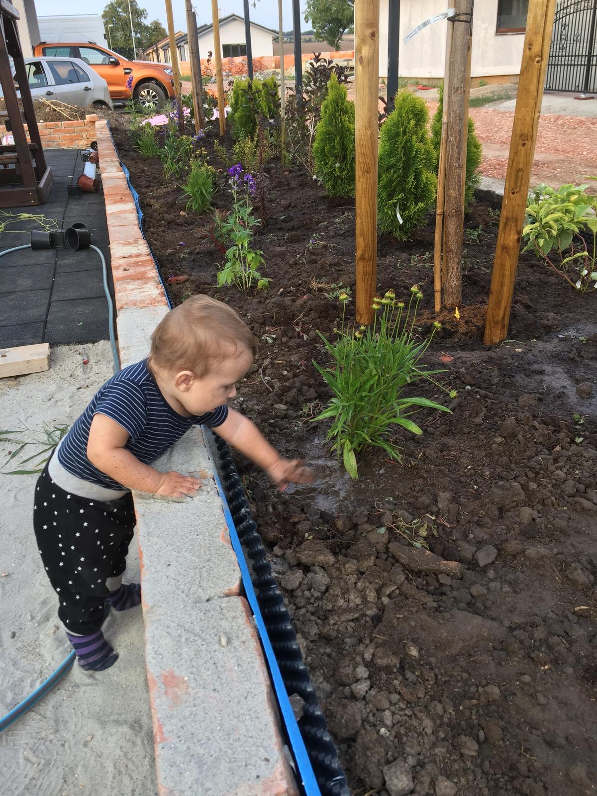 Okolie domu - Sadim si sadim a mám už takéhoto veľkého pomocníka :)