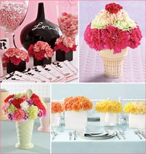 Carnation ice cream cone and mix matched colours