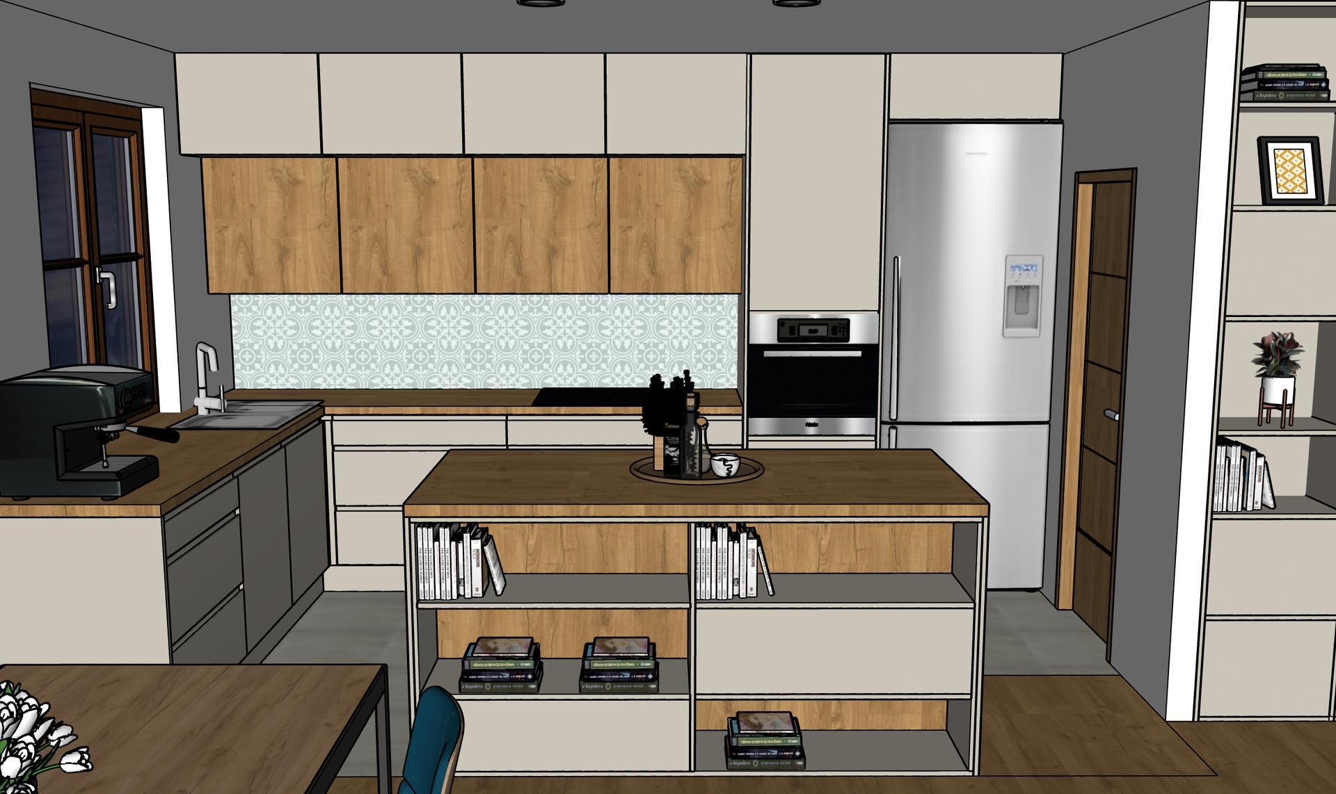 Tak pořád přemýšlím, jestli je lepší dát vysokou věž v dřevodekoru nebo v kašmíru jako spodní a nejhornější skříňky. Co se víc líbí vám? (pozn. dlažba na podlaze nakonec nebude a v celé místnosti bude dřevo) - Obrázek č. 2