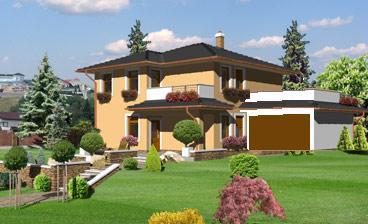 Pristavanie dvojgaraze s terasou ku katalogovemu projektu dvojgeneracneho domu