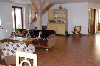 obývák, je to průchozí místnost do pokojů a vlevo vedle gauče jsou schody ven