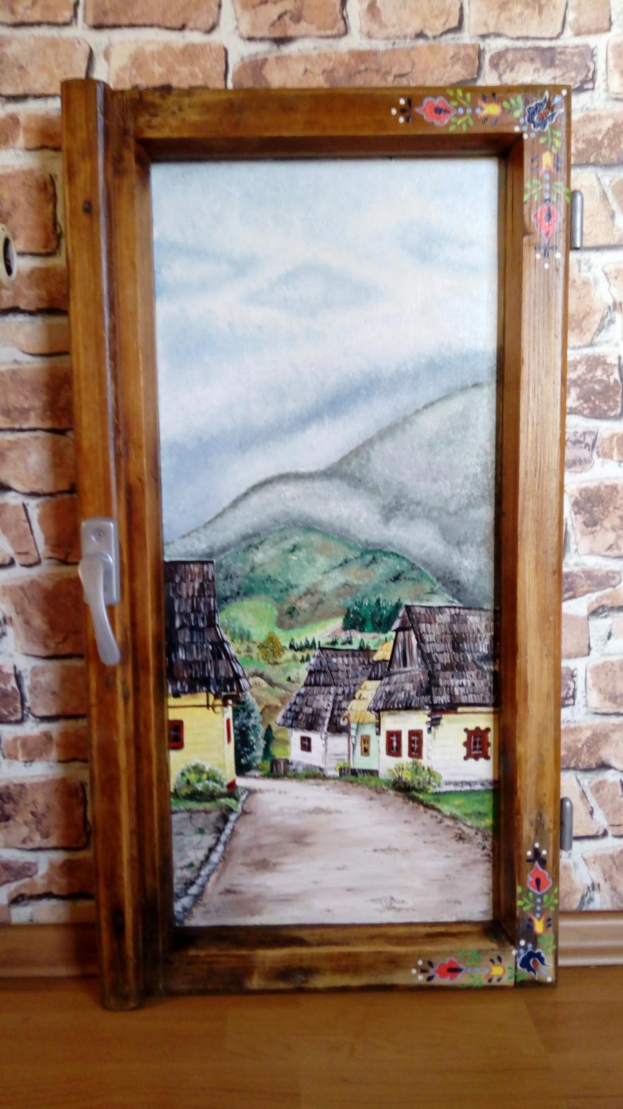 Obraz v starom okennom ráme Vlkolínec - Obrázok č. 1