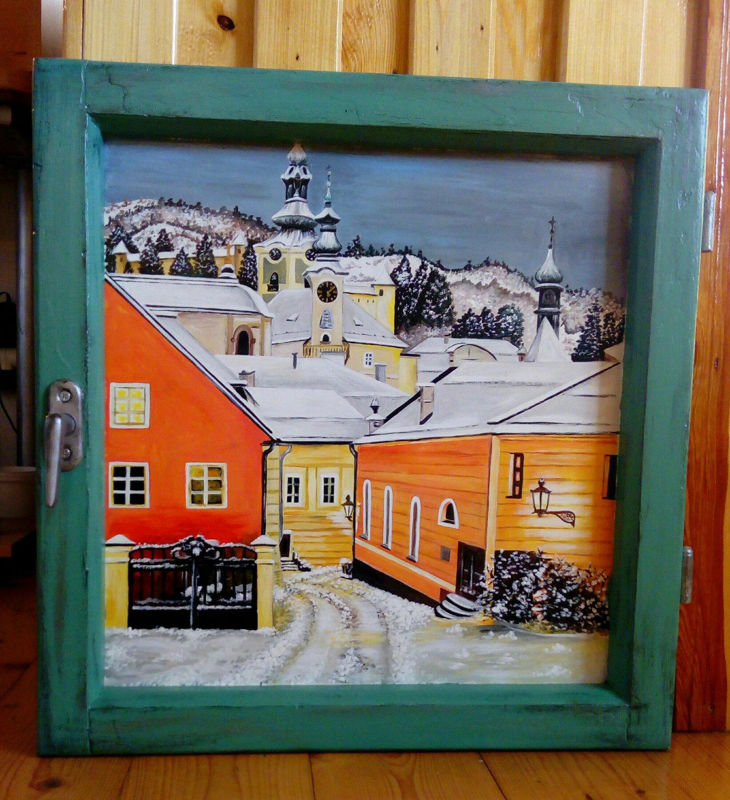 Obraz v starom okne B. Štiavnica v zime - Obrázok č. 1