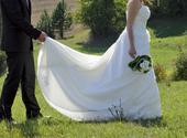 Krémové svadobné šaty na ramienka+čelenka+lodičky, 38