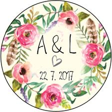 Naše svatební logo na dárečky (klíčenky, zátky na víno apod.) :)