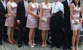 šaty pro družičku či svědkyni s pánskou kravatou, 36