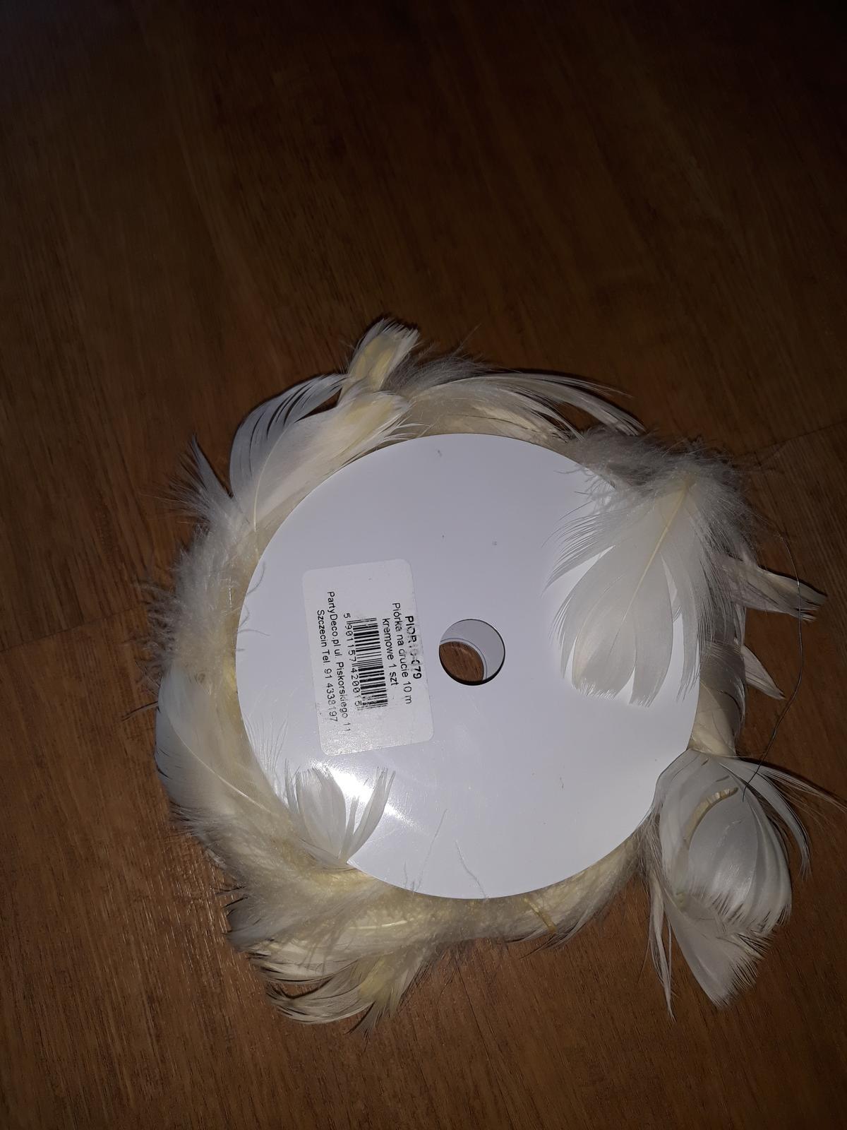 Béžová peříčka na silikonovém drátku - Obrázek č. 1