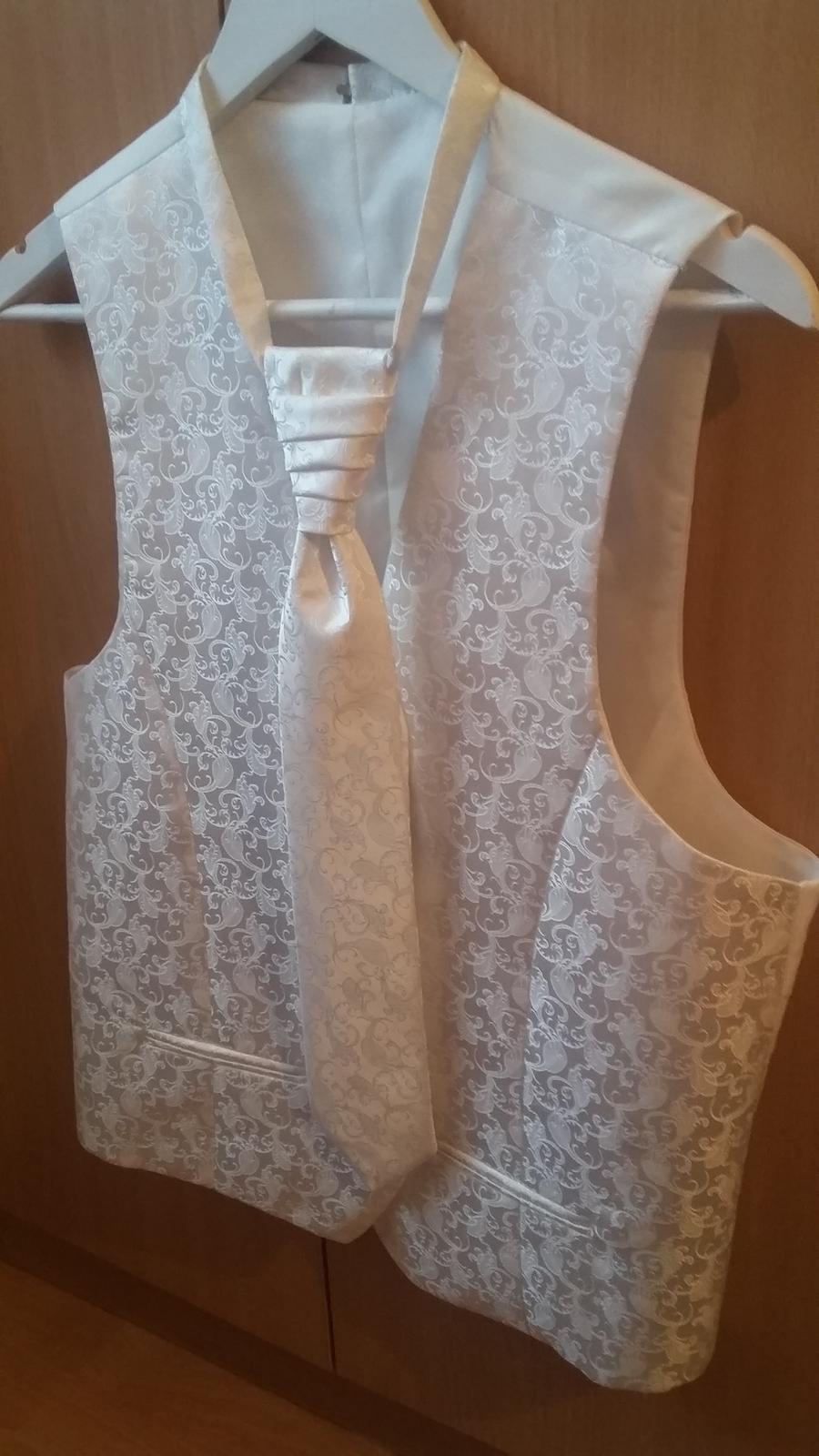 Svadobna vesta, kravata, vreckovka - Obrázok č. 1