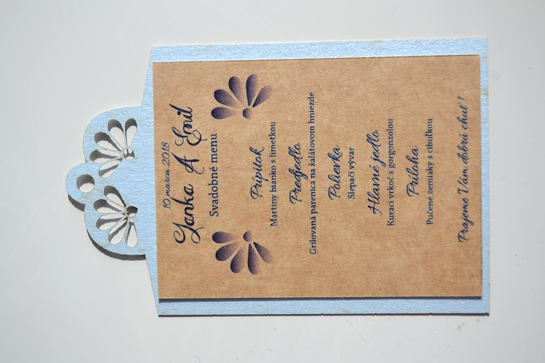 Svadobné oznámenie Ornament modro-prírodná - Obrázok č. 3