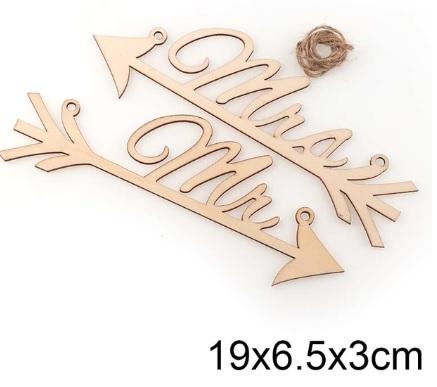 Dřevěná šipka Mr a Mrs - Obrázek č. 1