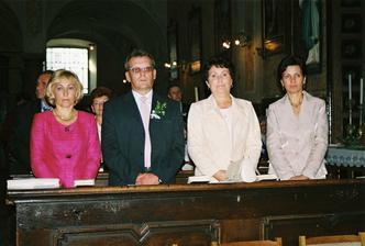 Na fotke zľava - Jurajova mamina, ocino, moja mamina a Jurajova krstná mama.