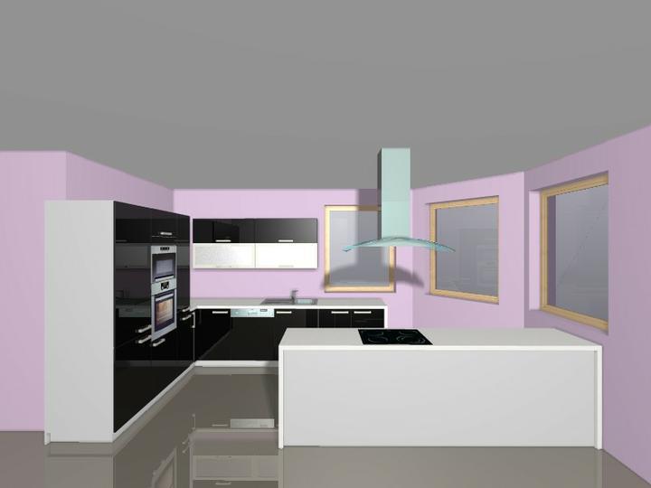 Kuchyně snů :) - Zadní stěna ostrůvku bude taktéž v černém lesku.. a barva stěny bude rovněž jiná :)