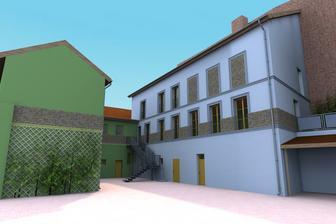 Vítězná vizualizace venkovního vzhledu našeho bytečku- ta světle modrá část domu, vchod ze schodiště ve dvoře