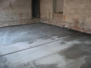 hotový beton na vrchním patře