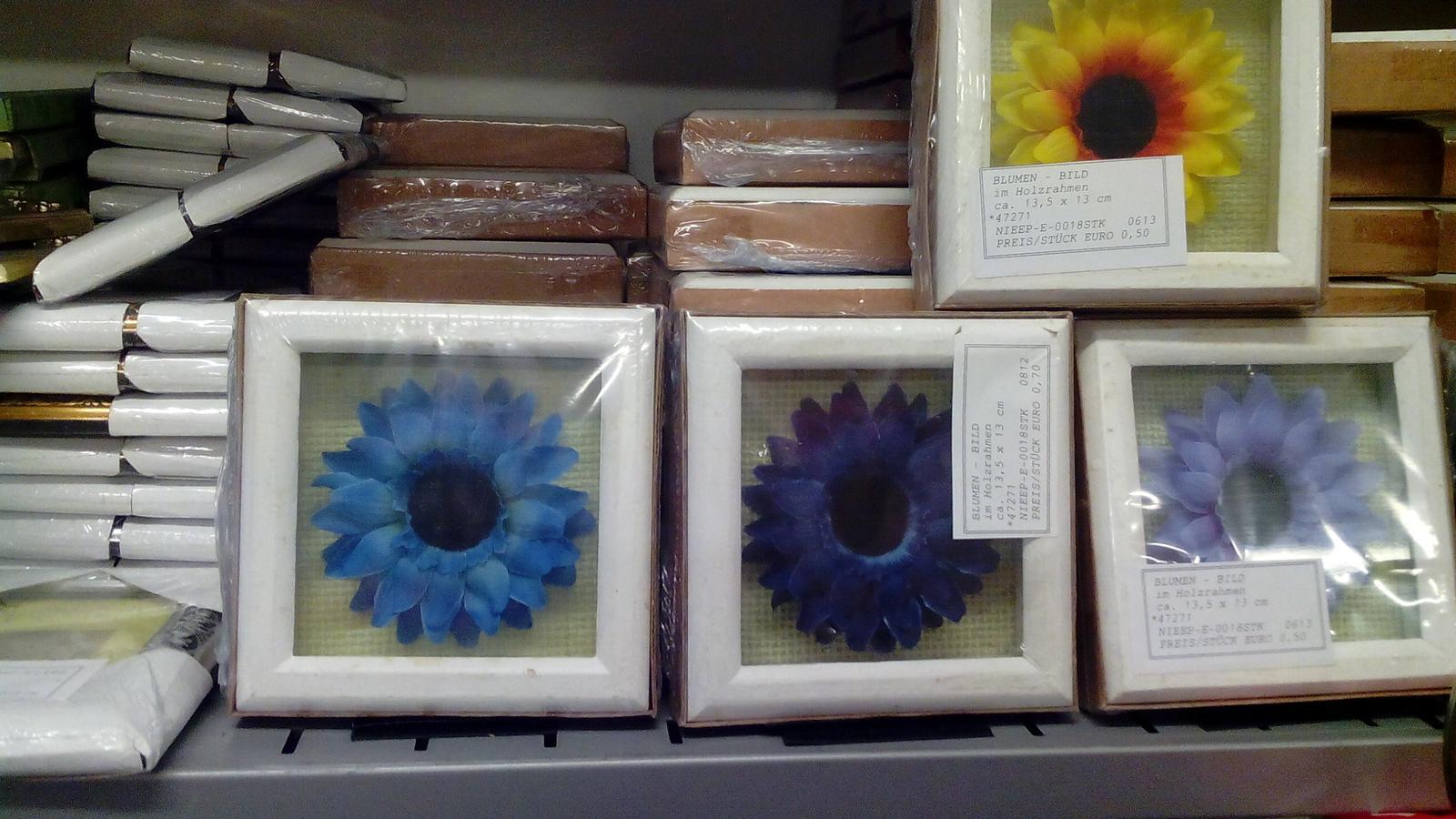 Kráľovstvo gombíkov (a aj všetkého iného) - Niečo na zhotovenie dekorácie. Rôzne kvety v drevenom rámiku za 0,50€