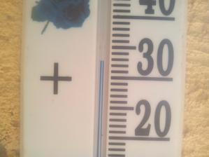Teplomer na gángu v chládku ukazuje 33°C.