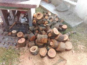 Čas údenia sa zase blíži, tak som dnes pripravoval čerešňové a slivkové drevo na údenie. Doniesli mi ho až z Poltára. Oni ho chceli páliť v krbe... hotové barbarstvo. :o)