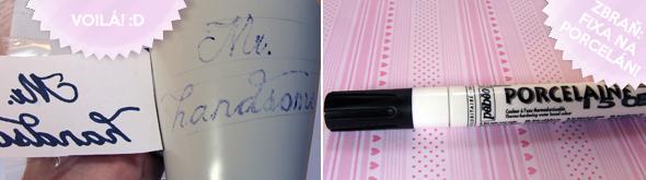 Až hrneček obtáhnete barvou na porcelán, musíte nechat barvu 24 hodin schnout, potom si troubu vyhřejte na 150°C a zapékejte hrnečky po dobu 35 minut :-) barva by pak měla být voděodolná :-)
