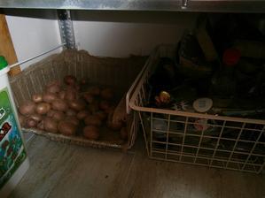 Zemiačky v kovovom košíku zo starej chladničky...