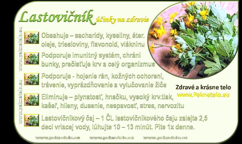 Bylinky a ovocie...receptíky z nich - Lastovičník