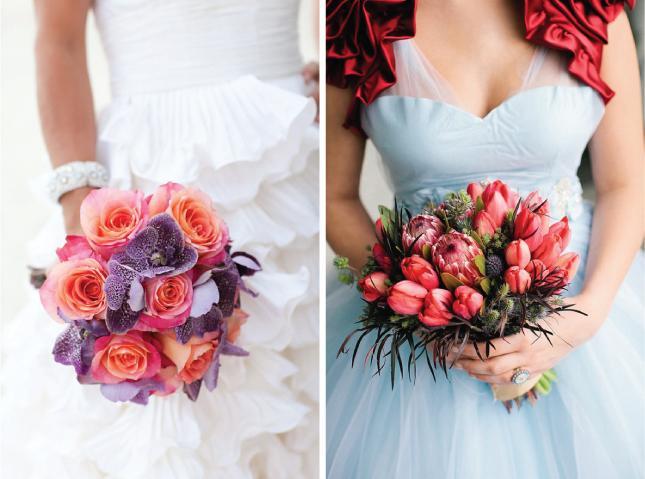 Svatební kytice - 1.foto - růže s orchidejí  2. foto - tulipány s proteou a bodláčky - krásná kombinace