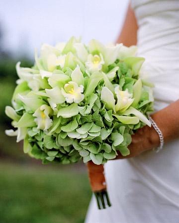 Svatební kytice - orchidej a hortenzie