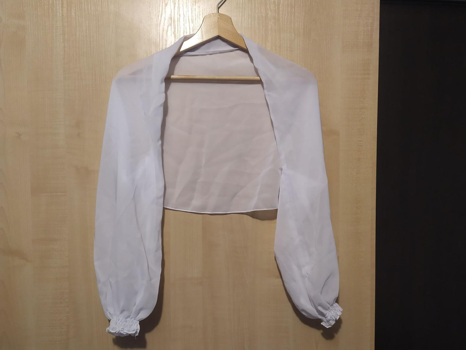 Svadobné šifónové bolerko biele, veľkosť uni - Obrázok č. 1