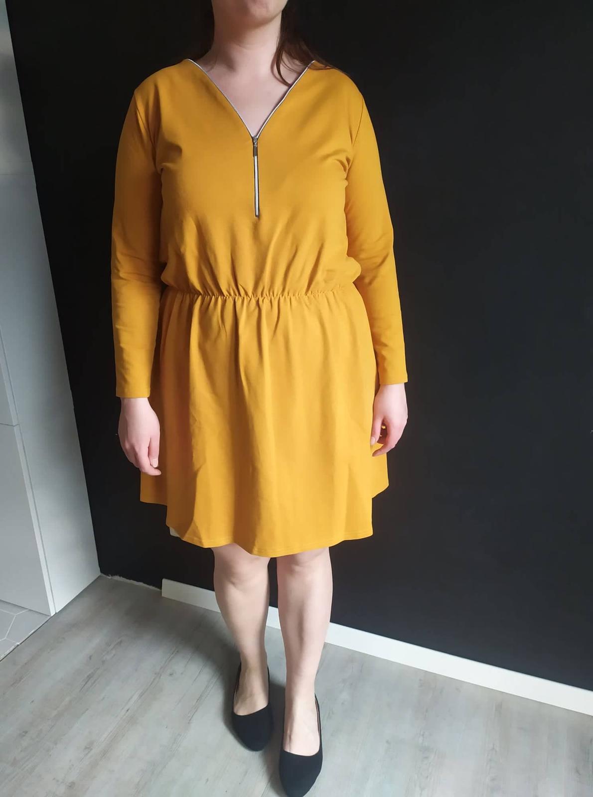 Dámske bavlnené šaty NANCY horčicové veľ. XL - Obrázok č. 3