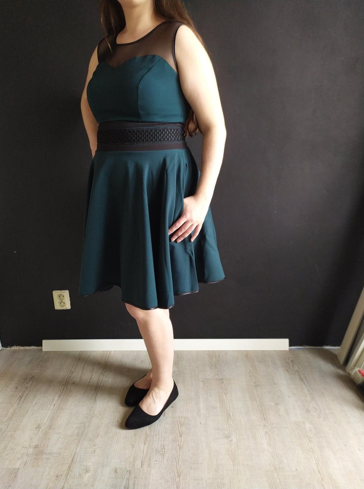 Dámske krátke šaty RICA tmavo zelené veľ. XL - Obrázok č. 1