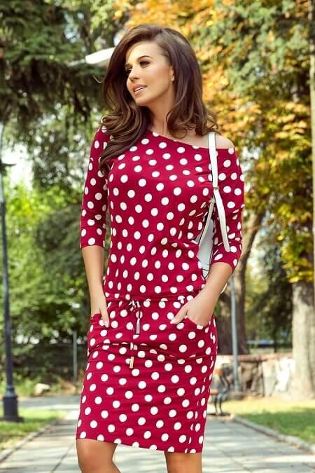 Dámske športové šaty červené s bodkami veľ. XL - Obrázok č. 1