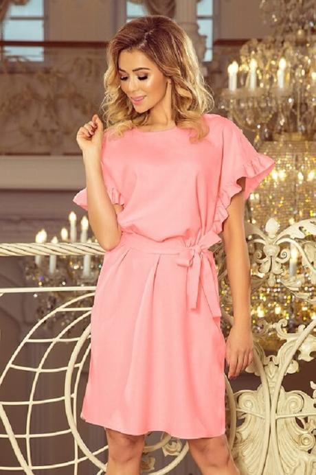 Dámske šaty s volánikmi OVERSIZE, ružové veľ. S - Obrázok č. 1