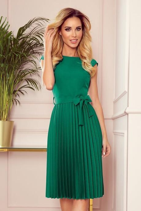 Dámske plisované šaty LILA zelené veľkosť S - Obrázok č. 1