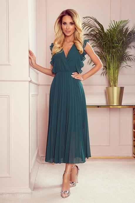 Dámske plisované šaty EMILY s volánikmi zelené veľ. S - Obrázok č. 1